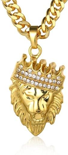 Naszyjnik męski 73 cm lew z koroną pozłacany