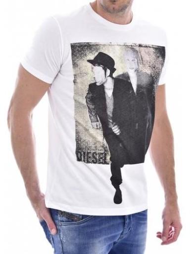 DIESEL T-shirt męski biały - nadruk TDSL33(M) 9393756976 Odzież Męska T-shirty YR UHAYYR-7