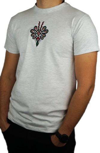 Koszulka męska szara bawełniana z parzenicą XL 9991968060 Odzież Męska T-shirty KQ BTULKQ-4