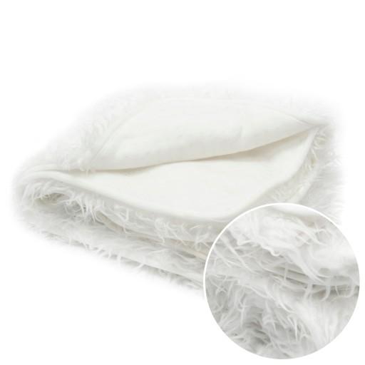 Narzuta koc na łóżko włochacz 60x155 cm kremowa