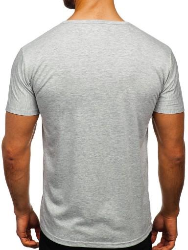 T-SHIRT MĘSKI Z NADRUKIEM SZARY KS1986 DENLEY_M 10163156444 Odzież Męska T-shirty TM HJWYTM-4