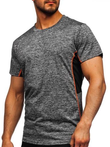 T-SHIRT TRENINGOWY GRAFITOWY HM073 DENLEY_XL 10616915376 Odzież Męska T-shirty DW UWQMDW-2