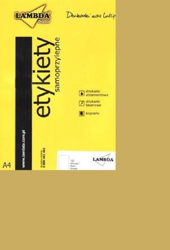 Etykiety samoprzylepne ZŁOTE błyszczące A4 100szt