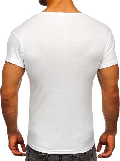 T-SHIRT BEZ NADRUKU BIAŁY NB003 DENLEY_L 10661691434 Odzież Męska T-shirty IQ YFAWIQ-4