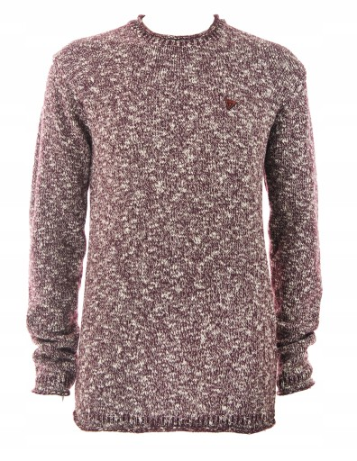 GUESS bluza męska sweter bordowy melanż wełna M