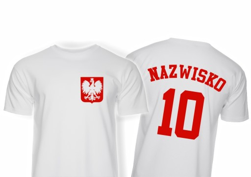 KOSZULKA KIBICA REPREZENTACJI POLSKI Z NAZWISKIEM 10684350067 Odzież Męska T-shirty GK HWSKGK-2