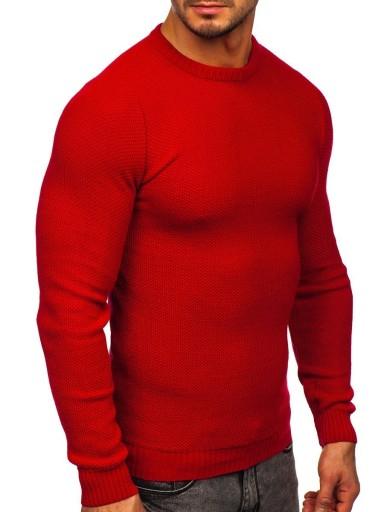 SWETER MĘSKI KLASYCZNY CZERWONY 4629 DENLEY_XL 9922665924 Odzież Męska Swetry KP VJTIKP-6