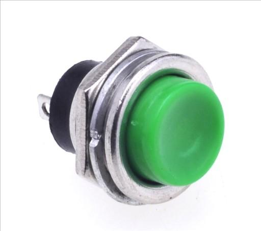 Przycisk zwierny okrągły duży metal OFF-(ON) zielo