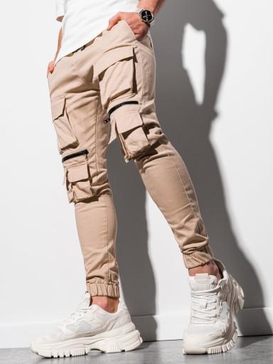 Spodnie męskie joggery kieszenie P995 beżowe M 10582278620 Odzież Męska Spodnie AV QIAVAV-9