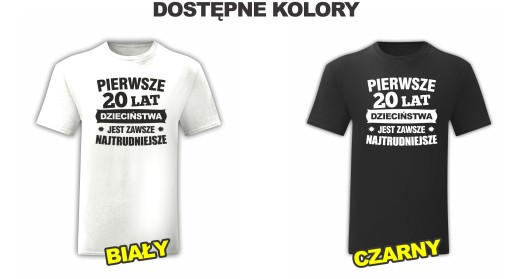 KOSZULKA URODZINOWA NA 20 LAT URODZINY - XL 10624746984 Odzież Męska T-shirty GF CYZMGF-2
