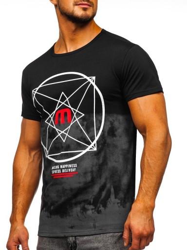 T-SHIRT MĘSKI Z NADRUKIEM CZARNY 10887 DENLEY_M 10163435200 Odzież Męska T-shirty HF FVEDHF-6