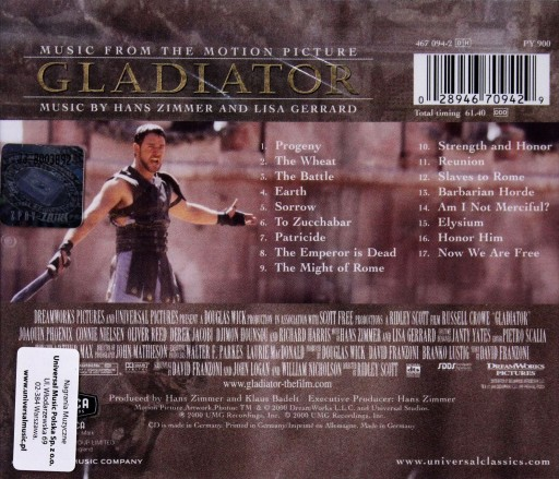 GLADIATOR (Hans Zimmer) (CD) SOUNDTRACK
