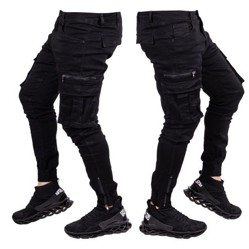 Spodnie męskie BOJÓWKI joggery CZARNE LARS r.38 10582525113 Odzież Męska Spodnie WP CGQGWP-5