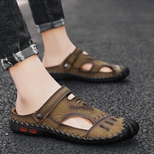 Sandały kapcie modne buty robocze męskie skorzane 10591835374 Obuwie Męskie Męskie KU TYMXKU-5