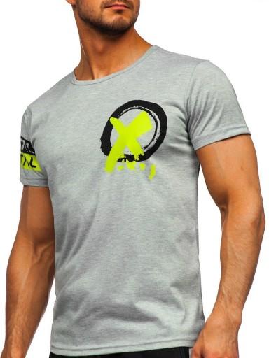T-SHIRT MĘKSI Z NADRUKIEM SZARY HY801 DENLEY_L 10583043511 Odzież Męska T-shirty VF TZZFVF-2
