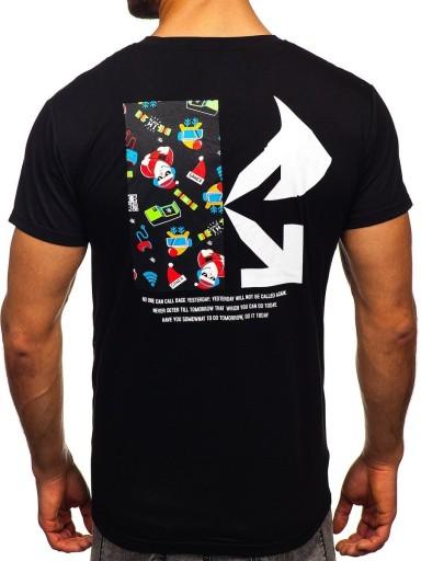 T-SHIRT MĘSKI ŚWIĄTECZNY CZARNY KS2511T DENLEY_2XL 9976000450 Odzież Męska T-shirty MH BVNEMH-8
