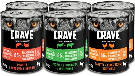 CRAVE bezzbożowy pasztet mix smaków 6x400g