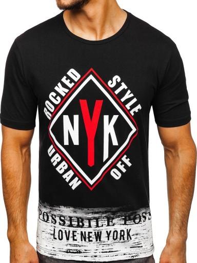 T-SHIRT MĘSKI Z NADRUKIEM CZARNY 6305 DENLEY_L 10145616032 Odzież Męska T-shirty DG RTOYDG-4
