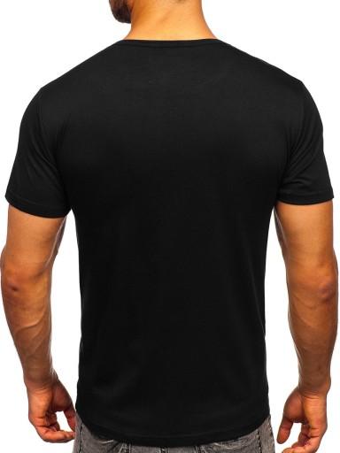 T-SHIRT MĘSKI Z NADRUKIEM CZARNY KS2653 DENLEY_XL 10772903049 Odzież Męska T-shirty AZ DCCAAZ-3