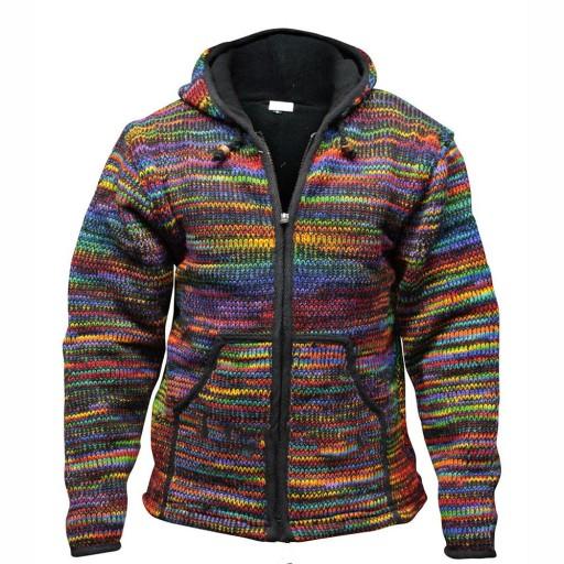 Ciepła męska bluza z kapturem, kolorowa dzianina 10709703205 Odzież Męska Swetry DV YYQMDV-4