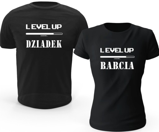 Koszulka LEVEL UP SUPER DZIADEK BABCIA komplet L