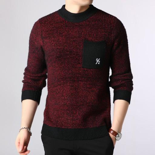 Sweter męski z okrągłym dekoltem 10709703490 Odzież Męska Swetry JS SOSFJS-9