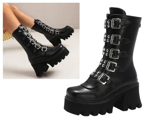 Buty Goth Gotyckie Bt37 Glany Platforma Czarne 35 9847933253 Allegro Pl