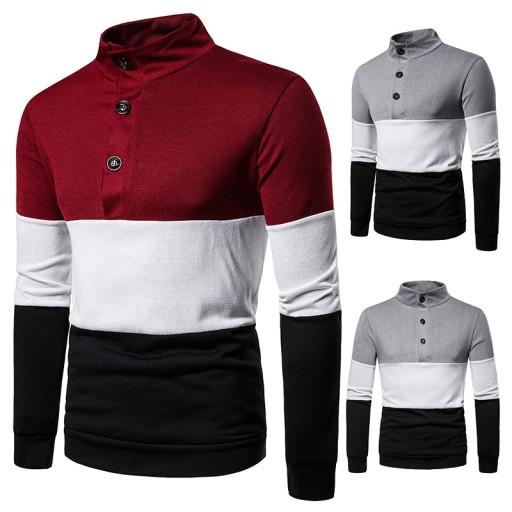 kolorowym przeszyciem męski sweter Dzianina męska 10607446125 Odzież Męska Swetry CZ KBRRCZ-5