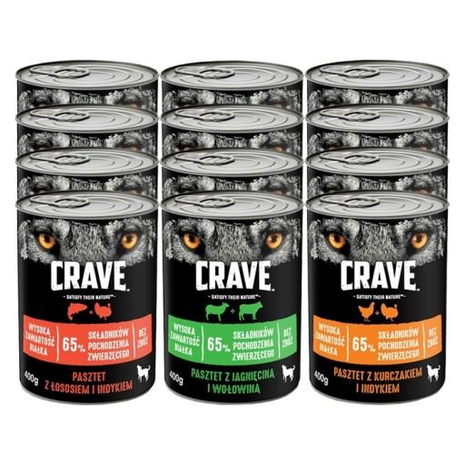 CRAVE DOG MOKRA KARMA DLA PSA mix 3 smaków 12x400g