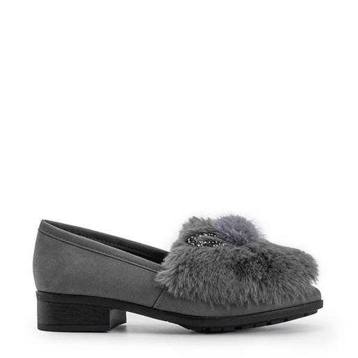 Szare półbuty damskie mokasyny buty C17-6166-3 38