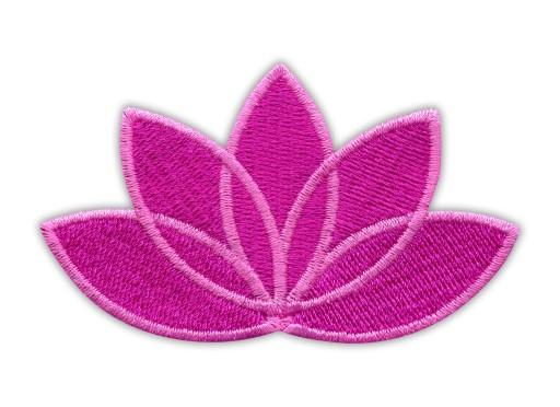 Naszywka Kwiat Lotosu ciemno różowy - różowa ramka