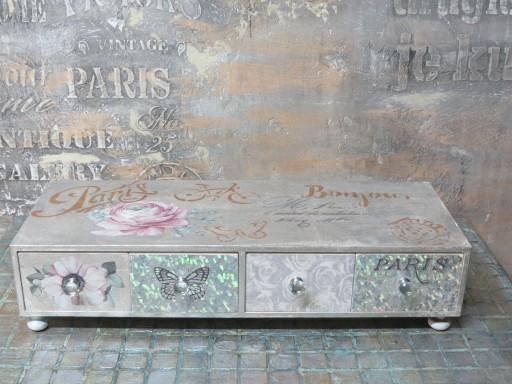 komódka z 4 szufladami w srebrze glamour