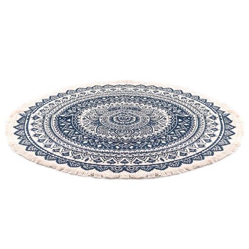 Okrągły dywan w etniczne wzory z frędzlami 90 cm