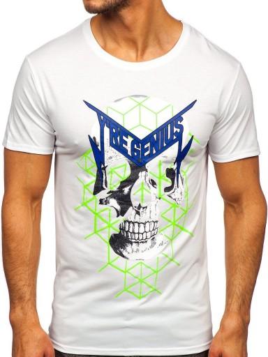 T-SHIRT MĘSKI Z NADRUKIEM BIAŁY Y70002 DENLEY_M 10552379305 Odzież Męska T-shirty BR YDRKBR-2