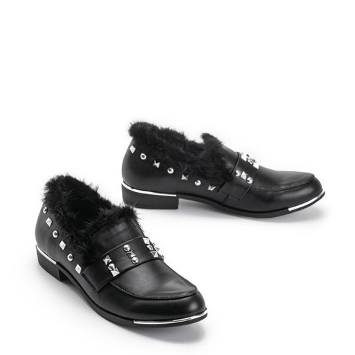 Czarne półbuty damskie mokasyny buty C17-3219 38