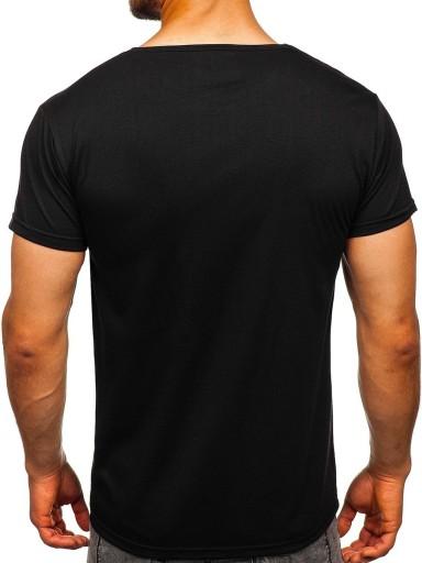 T-SHIRT MĘSKI Z NADRUKIEM CZARNY KS1944 DENLEY_M 10164175767 Odzież Męska T-shirty ZL HJOHZL-8