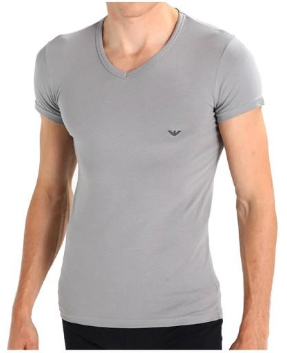 ARMANI Emporio _ Silver Grey T-shirt V-neck _ L 10675082875 Odzież Męska T-shirty RS MPGKRS-9