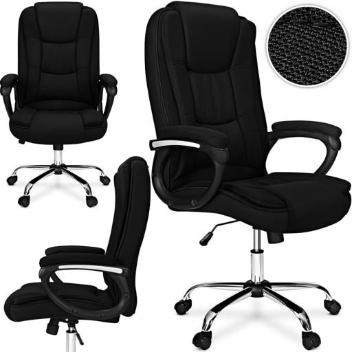 MATERIAŁOWY FOTEL OBROTOWY biurowy CHROM krzesło
