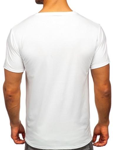 T-SHIRT MĘSKI Z NADRUKIEM BIAŁY Y70012 DENLEY_L 10556531548 Odzież Męska T-shirty MB LIJIMB-9