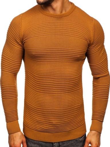 SWETER MĘSKI KLASYCZNY BRĄZOWY 4608 DENLEY_XL 9953393679 Odzież Męska Swetry OC FAVUOC-4