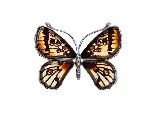 MOTYLEK motyl SREBRNA zawieszka NATURALNY BURSZTYN