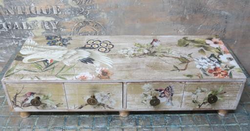 komódka z 4 szufladkami -Ptaki w kwiatach
