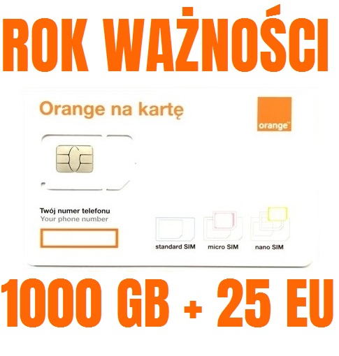 STARTER INTERNET ORANGE FREE 1000GB ROK + 25GB EU