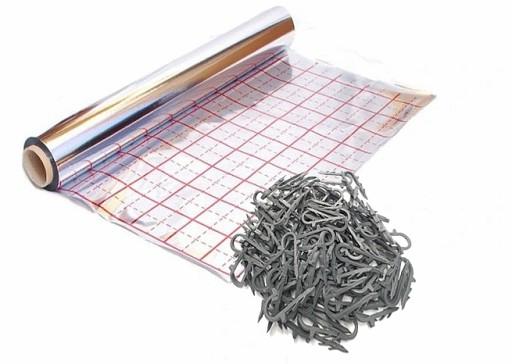 FOLIA DO PODŁOGÓWKI Aluminiowa Gruba +Klipsy