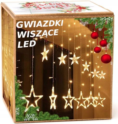 GWIAZDY WISZĄCE LAMPKI CHOINKOWE KURTYNA LED