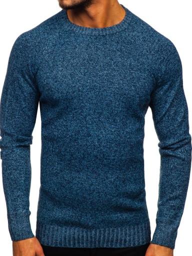 SWETER MĘSKI KLASYCZNY NIEBIESKI H1929 DENLEY_2XL 10001767128 Odzież Męska Swetry LZ PHBHLZ-2