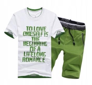 Męski LATO Komplet Napisy Spodenki + T-shirt r.XL 10719201599 Odzież Męska Komplety OQ HXNLOQ-4