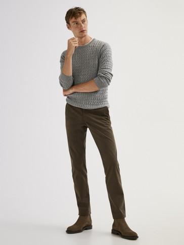 MASSIMO DUTTI brązowe spodnie chino slim fit 40 10756181230 Odzież Męska Spodnie UY YQMVUY-1