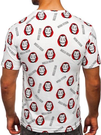 T-SHIRT MĘSKI Z NADRUKIEM BIAŁY 14920 DENLEY_XL 10189958185 Odzież Męska T-shirty PE FHXHPE-2