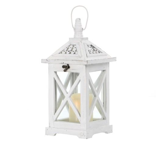 LAMPION DREWNIANY Latarnia Świecznik Biały